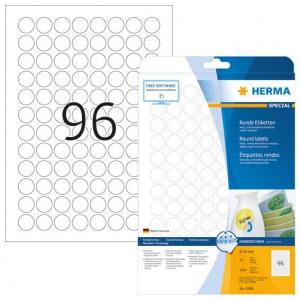 Etykiety samoprzylepne odklejalne Movables okrągłe 4386, ø 20 mm, papier biały matowy, 2400 szt.